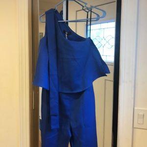 011139e5974 Missguided Pants - Blue One Shoulder Bow Jumpsuit